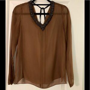 Sheer jeweled neck line Robert Rodriguez blouse